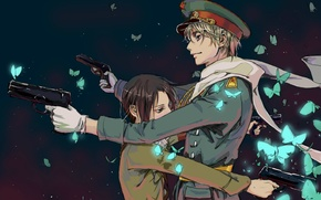 Picture butterfly, gun, China, star, Russia, cap, military uniform, shoulder straps, Axis Powers, Hetalia