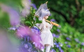 Wallpaper summer, hydrangea, umbrella, flowers, doll