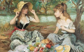 Picture nature, picture, picnic, genre, Marseille Dif, Landscape with two girls