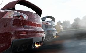Picture turbo, fire, mitsubishi, tuning, lancer, evolution, evo, racing, exhaust