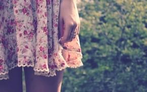 Picture hand, dress, ring, hem