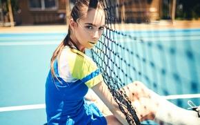 Wallpaper makeup, tennis, mesh, court, girl, loren