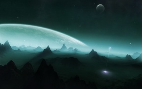 Wallpaper mountains, planet, rocket