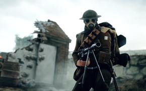 Wallpaper weapons, war, the game, soldiers, machine gun, helmet, British, Electronic Arts, Battlefield 1