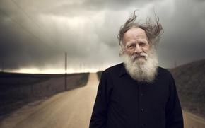 Picture look, the wind, portrait, grandpa, beard