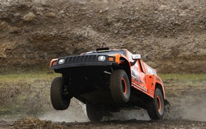Wallpaper Sport, Race, Lights, Rally, Dakar, SUV, The front, Hammer