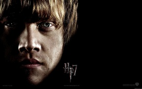 Picture face, black background, Harry Potter and the Deathly Hallows, Ron Weasley, Rupert Grint, Harry Potter …