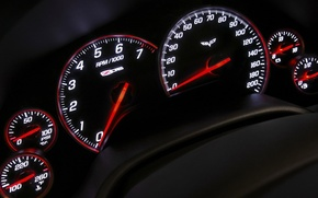 Wallpaper arrows, panel, speedometer, devices, Z06, Corvette, Chevrolet, tachometer