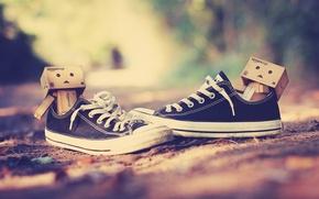 Picture macro, nature, background, situation, earth, Wallpaper, sneakers, leaves, danbo, korbki