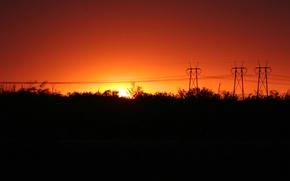 Wallpaper sunrise, night, red
