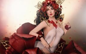 Picture flower, girl, decoration, petals