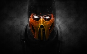 Picture the dark background, mask, Scorpio, ninja, scorpion, mortal kombat