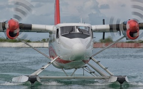 Wallpaper the plane, water, landing, blades
