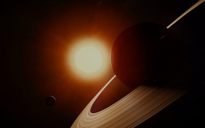Picture the sun, space, stars, space, Saturn