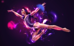Picture lights, abstract, white, black, flying, woman, blue, pink, model, purple, dancing, athlete, begie