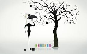 Picture tree, umbrella, mask, creative