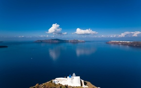 Picture sea, the sky, Islands, clouds, Greece, Church, the island of Sifnos