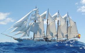 Picture sea, ship, training, Juan Sebastián Elcano, (A-71), Brigantine