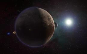 Picture space, planet, satellite, Pluto, Charon