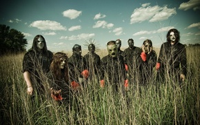 Picture group, team, Slipknot, the sky in the background