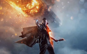 Picture The sky, Lights, Look, Smoke, Fire, Knife, The airship, Soldiers, Cloak, Military, Electronic Arts, DICE, …