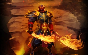 Picture weapons, wall, fire, warrior, art, swords, stand, Dota 2, Xin, Ember Spirit