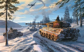 Picture Panther, winter, Royal tiger, Tiger II, Sd. Car. 182, tiger 2, PzKpfw VI Ausf. B, …
