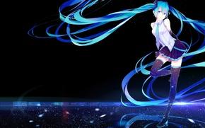Picture girl, smile, anime, art, vocaloid, hatsune miku