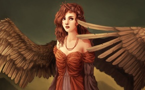 Picture eyes, look, girl, face, fiction, hair, wings, angel, dress, art, red, curls