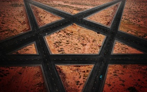 Picture car, cinema, wallpaper, fantasy, road, devil, desert, science fiction, rocks, street, sand, symbol, movie, film, …