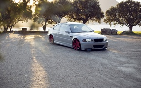 Picture white, trees, bmw, BMW, red, red, white, wheels, drives, e46