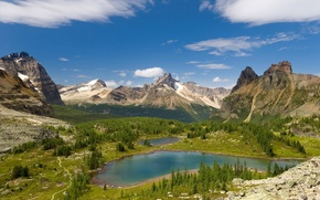 Wallpaper pond, trees, mountains, clouds