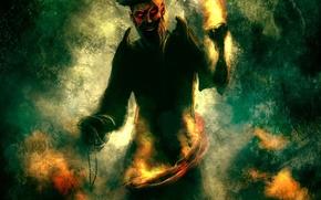 Wallpaper figure, pirate, fire