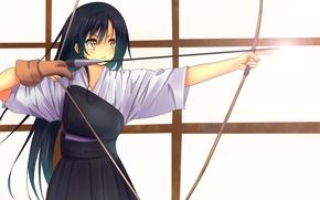 Picture girl, weapons, bow, art, Archer, love live! school idol project, sonoda umi, odamanoe