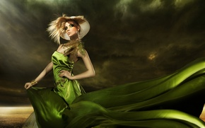 Wallpaper hat, feathers, green dress, makeup, fashionable girl, elegant hairstyle