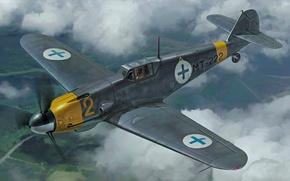 Picture war, art, painting, ww2, Messershmitt BF109G-2 Finnish Air Force