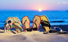Picture sand, sea, beach, summer, sunset, vacation, glasses, Slippers