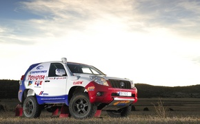 Picture Sunset, The sky, Toyota, Rally, Dakar, Toyota, The front