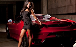 Picture girl, dress, Ferrari, convertible, Car, Ferrari, Girls, SA Aperta