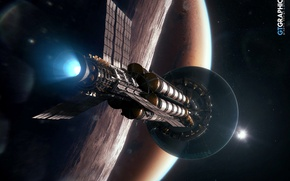 Picture space, planet, stars, spaceship, Mars, arrival, Kronos