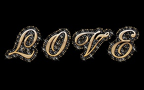 Picture love, gold, glamour, luxury, letters, diamonds