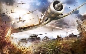 Picture grass, the plane, war, Games, battlefield, tanks, Airplane, Firing
