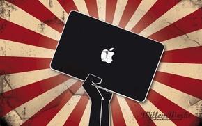 Wallpaper Apple, apple, emblem, hand