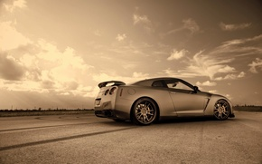 Picture road, auto, the sky, trail, Sepia, Nissan, GTR R35 2
