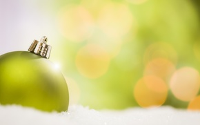 Wallpaper toy, New Year, green, holidays, snow, background, winter, ball, Christmas, bokeh, New Year, Christmas, decoration, ...