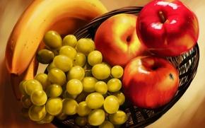 Wallpaper fly, basket, apples, oil, bananas, painting, Vinohrady