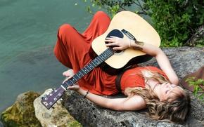 Wallpaper music, girl, guitar