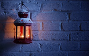 Picture winter, snow, night, wall, fire, candle, brick, lantern