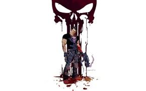 Picture blood, skull, Punisher, weapon, Marvel, comic, Comics, antihero, The Punisher, Frank Castle