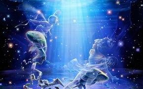 Picture sea, girl, fish, art, guy, underwater world, under water, zodiac, Yutaka Kagaya, kagaya